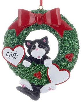 Personalized Cat Wreath (Tuxedo)