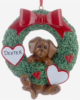 Personalized Dog Wreath (Brown Dog)
