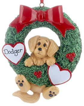 Personalized Dog Wreath (Golden Retriever)