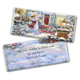 Personalized Chocolate Bar & Wrapper with Gold Foil - Christmas Silent Night Lane