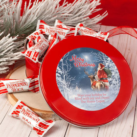 Personalized Christmas Starry Night Santa Red Tin with Dark Chocolate Peppermint Roca (approx 25 pcs)