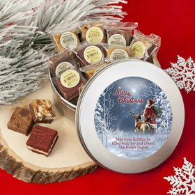 Personalized Christmas Add Your Logo Starry Night Santa Tin with Brownies (approx 16 pcs)