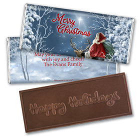 Personalized Embossed Chocolate Bar - Christmas Starry Night Santa