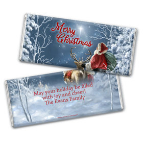 Personalized Chocolate Bar & Wrapper with Gold Foil - Christmas Starry Night Santa