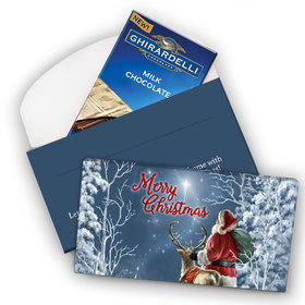 Deluxe Personalized Christmas Silent Night Santa Ghirardelli Chocolate Bar in Gift Box