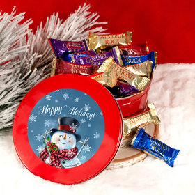 Happy Holidays Jolly Snowman Red Tin with Assorted Roca (approx 25 pcs)