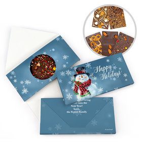 Personalized Joyful Jolly Snowman Christmas Gourmet Infused Belgian Chocolate Bars (3.5oz)