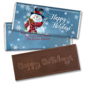 Personalized Embossed Chocolate Bar - Christmas Jolly Snowman