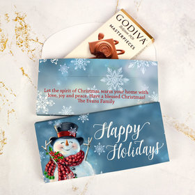 Deluxe Personalized Jolly Snowman Christmas Godiva Chocolate Bar in Gift Box
