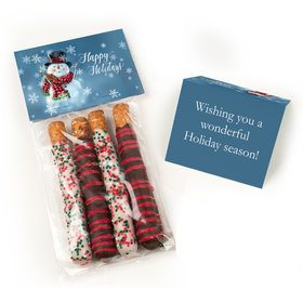Happy Holidays Snowman Belgian Chocolate Covered Pretzel Sticks (4pcs)