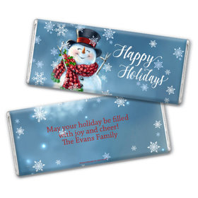 Personalized Chocolate Bar & Wrapper - Christmas Jolly Snowman