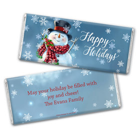 Personalized Chocolate Bar Wrappers Only - Christmas Jolly Snowman