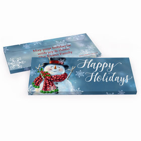Deluxe Personalized Christmas Jolly Snowman Chocolate Bar in Gift Box