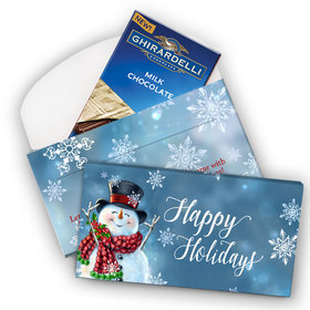 Deluxe Personalized Christmas Jolly Snowman Ghirardelli Chocolate Bar in Gift Box