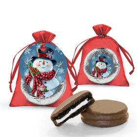 Christmas Jolly Snowman Chocolate Covered Oreo Cookie in Organza Bags with Gift tag