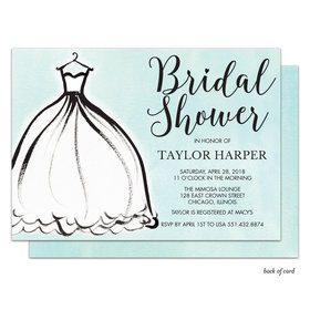 Bonnie Marcus Collection Personalized Silhouette Dress Bridal Shower Invitation - Blue