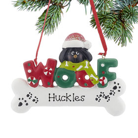 Personalized Woof Dog Bone (Black)