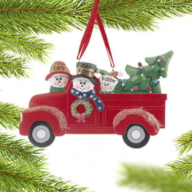 Personalized Vintage Red Truck Family of 3