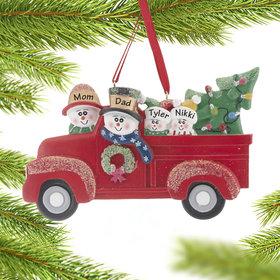 Personalized Vintage Red Truck Family of 4