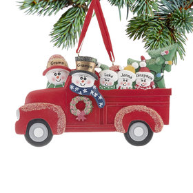 Personalized Vintage Red Truck Family of 5