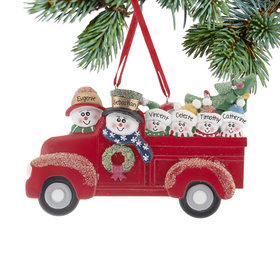 Personalized Vintage Red Truck Family of 6