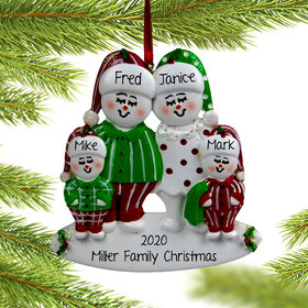 Personalized Snow Family of 4 in Pjs