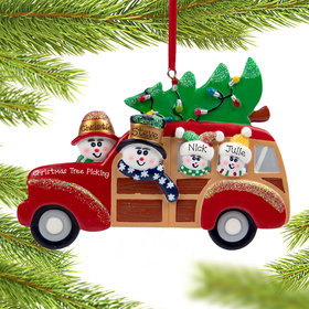 Personalized Snow Family of 4 in Station Wagon Christmas Ornament