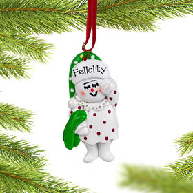 Personalized Snow Girl in PJs Christmas Ornament