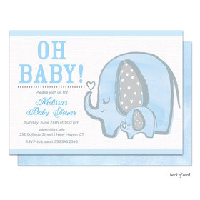 Bonnie Marcus Collection Personalized Baby Elephant Invitation - Blue