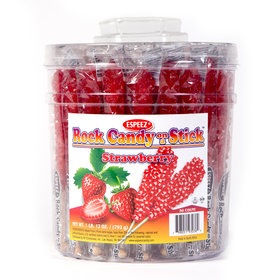 Strawberry Rock Candy on a Stick (36 Pack)