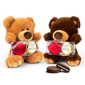 Personalized Christmas Lights Teddy Bear with Chocolate Covered Oreo 2pk