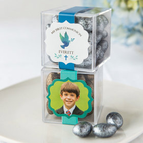 Personalized Boy First Communion JUST CANDY® favor cube with Premium Almond Jewels