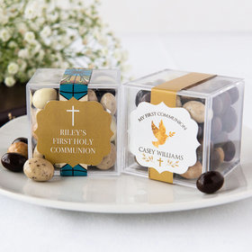 Personalized Boy First Communion JUST CANDY® favor cube with Premium New York Espresso Beans