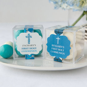 Personalized Boy First Communion JUST CANDY® favor cube with Premium Malted Milk Balls