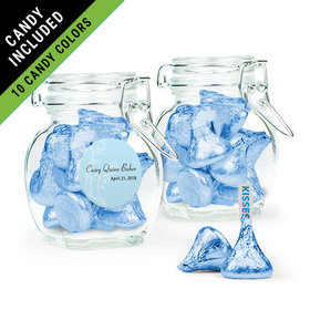 Personalized Boy First Communion Favor Assembled Swing Top Jar Filled with Hershey's Kisses