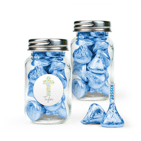 Personalized Boy First Communion Favor Assembled Mini Mason Jar Filled with Hershey's Kisses