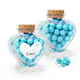 Personalized Boy First Communion Favor Assembled Heart Jar Filled with Sixlets