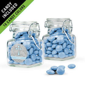 Personalized Boy First Communion Favor Assembled Swing Top Square Jar Filled with Just Candy Milk Chocolate Minis