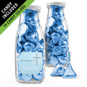 Personalized Boy First Communion Favor Assembled Milk Bottle Jar Filled with Hershey's Kisses