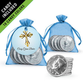 Personalized Boy First Communion Favor Assembled Gift tag, Organza Bag Filled with Milk Chocolate Coins