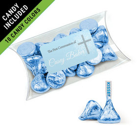Personalized Boy First Communion Favor Assembled Pillow Box Filled with Hershey's Kisses