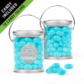 Personalized Boy First Communion Favor Assembled Paint Can Filled with Just Candy Jelly Beans