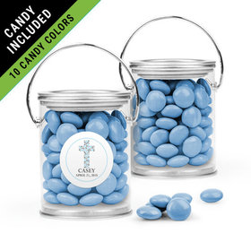Personalized Boy First Communion Favor Assembled Paint Can Filled with Just Candy Milk Chocolate Minis
