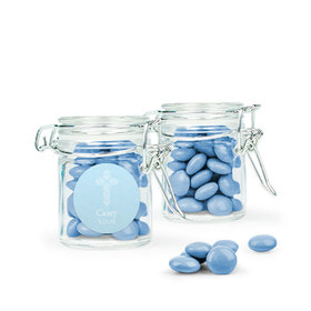 Personalized Boy First Communion Favor Assembled Swing Top Round Jar Filled with Just Candy Milk Chocolate Minis