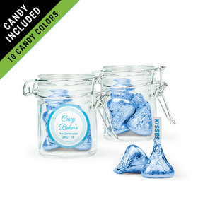 Personalized Boy First Communion Favor Assembled Swing Top Round Jar Filled with Hershey's Kisses