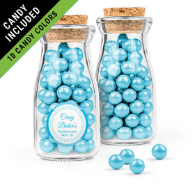 Personalized Boy First Communion Favor Assembled Glass Bottle with Cork Top Filled with Sixlets