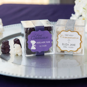 Personalized Girl First Communion JUST CANDY® favor cube with Gummy Bears