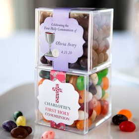 Personalized Girl First Communion JUST CANDY® favor cube with Jelly Belly Jelly Beans