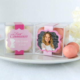 Personalized Girl First Communion JUST CANDY® favor cube with Premium Malted Milk Balls