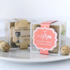 Personalized Girl First Communion JUST CANDY® favor cube with Premium Marshmallow S'mores - Milk Chocolate
